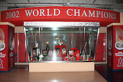ANAHEIM, CA - MAY 14:  A trophy display shows the 2002 World Series Trophy and other memorabilia at the Los Angeles Angels of Anaheim game against the Boston Red Sox at Angel Stadium in Anaheim, California on Thursday, May 14, 2009.  The Angels defeated the Red Sox 5-4 in 12 innings.  (Photo by Paul Spinelli/MLB Photos)