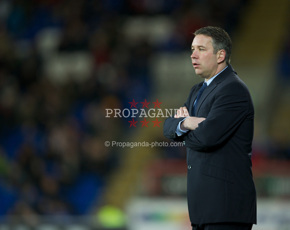 CARDIFF, WALES - Tuesday, February 14, 2012: Peterborough United's manager Darren Ferguson during the Football League Championship match against Cardiff City at the Cardiff City Stadium. (Pic by David Rawcliffe/Propaganda)
