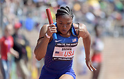 Apr 28, 2018; Philadelphia, PA, USA; Destinee Brown runs the first 100m leg on the USA Red women's sprint medley relay that won in a world-record 1:35.20 during the 124th Penn Relays at Franklin Field.