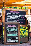 Traditional menu at restaurant in Herzog Friedrich Strasse in Innsbruck in the Tyrol, Austria