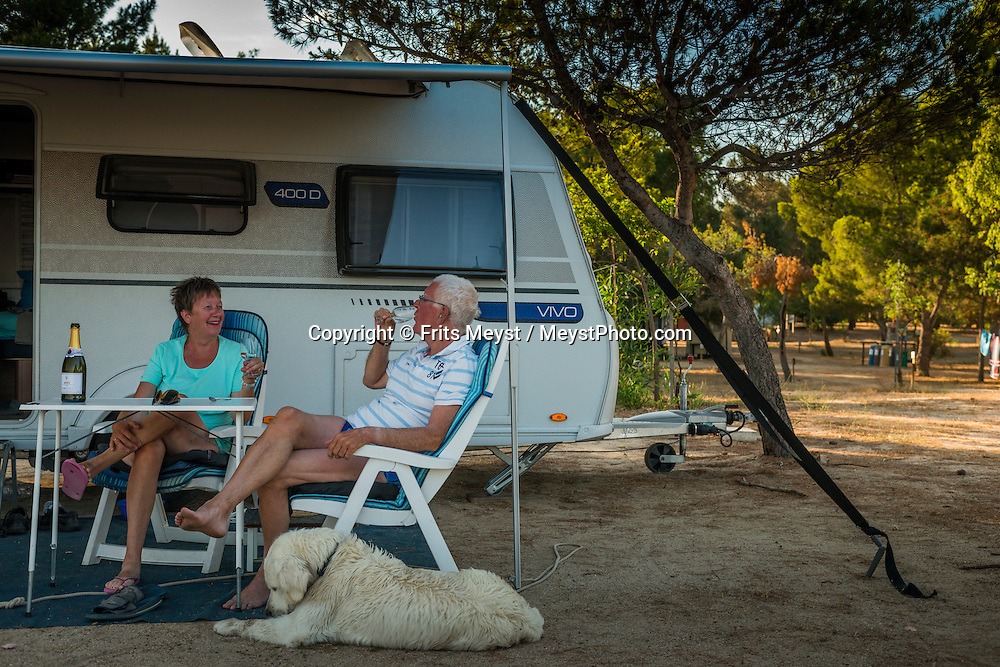 Costa Rei, Sardinia, Italy, June 2015. Mr and Mrs H.N. Pesman. Camping Tiliguerta in Capo Ferrato. Costa Rei is located on the south coast of Sardinia about 50km from Cagliari. The coastline is renowned for its crystal clear water, golden sands and long beaches. Photo by Frits Meyst / MeystPhoto.com