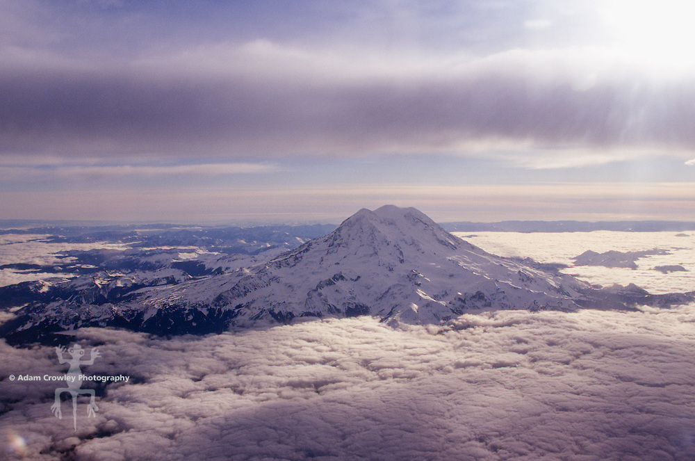 Mount Rainier with low lying clouds.