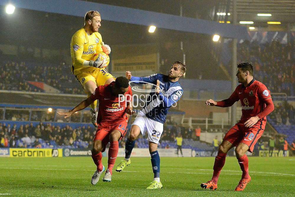 Blackburn Rovers goalkeeper Jason Steele claims the ball during the Sky Bet Championship match between Birmingham City and Blackburn Rovers at St Andrews, Birmingham, England on 3 November 2015. Photo by Alan Franklin.
