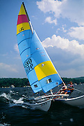 NJ, Morris County, Northeast, Hobie cat on Lake Hopatcong.