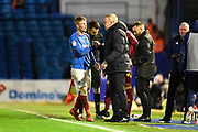 Substitution - Portsmouth manager Kenny Jackett shakes hands with Andy Cannon (14) of Portsmouth as he is replaced during the EFL Sky Bet League 1 match between Portsmouth and Ipswich Town at Fratton Park, Portsmouth, England on 21 December 2019.