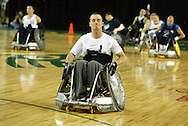 July 7th, 2006: Anchorage, AK - Thomas Durbin reacts to loosing the ball out of bounds as White defeated Blue in the gold medal game of Quad Rugby at the 26th National Veterans Wheelchair Games.