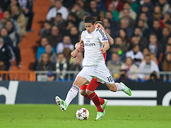 MADRID, SPAIN - Tuesday, November 4, 2014: Real Madrid's James Rodriguez in action against Liverpool during the UEFA Champions League Group B match at the Estadio Santiago Bernabeu. (Pic by David Rawcliffe/Propaganda)