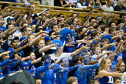 The Duke student section at Cameron Indoor Stadium.  The Duke Blue Devils defeated the Virginia Cavaliers 87-65 in men's basketball at Cameron Indoor Stadium on the campus of Duke University in Durham, NC on January 13, 2008.