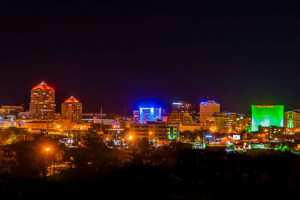 Downtown skyline at night, Albuquerque, New Mexico USA