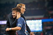Thomas TUCHEL (PSG) greated Juan Bernat (PSG) during the French Championship Ligue 1 football match between Paris Saint-Germain and AS Saint-Etienne on September 14, 2018 at Parc des Princes stadium in Paris, France - Photo Stephane Allaman / ProSportsImages / DPPI