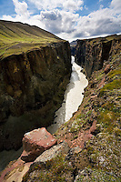 Hafrahvammagljúfur Canyon in East Iceland, also known as Dimmugljúfur (Dark Canyon). This is from the affected area of Kárahnjúkavirkjun Power Plant. The River was stopped on the 28th of September 2006 by a huge Dam, thus creating the Hálslón Resovoir.<br />