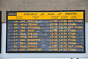 Israel, Ben-Gurion international Airport, Arrival Hall arrivals schedule board