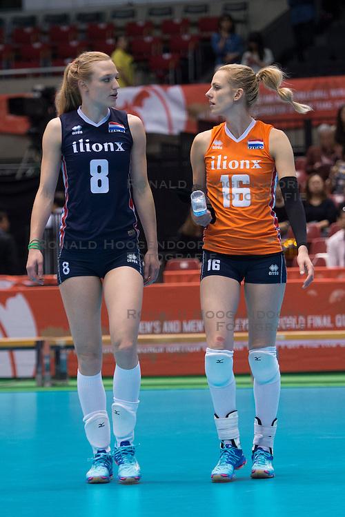 15-05-2016 JAP: OKT Nederland - Zuid Korea, Tokio<br /> Er is nog niets verloren, maar de volleybalsters van Oranje hebben tijdens het OKT een gevoelige 3-0 nederlaag geleden tegen Zuid-Korea / Judith Pietersen #8, Debby Stam-Pilon #16