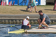 """Henley on Thames, United Kingdom, 6th July 2018, Friday, View,  """"Third day"""", of the annual,  SUI W1X., """"Jeannine GMELIN"""", """"Boating"""",with Coach, Robin DOWEL,to race in her first heat, """"Henley Royal Regatta"""", Henley Reach, River Thames, Thames Valley, England, © Peter SPURRIER,"""