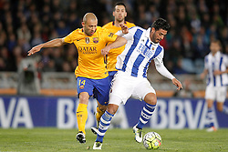 09.04.2016, Estadio de Anoeta, San Sebastian, ESP, Primera Division, Real Sociedad vs FC Barcelona, 32. Runde, im Bild Real Sociedad's Carlos Vela (r) and FC Barcelona's Javier Mascherano // during the Spanish Primera Division 32th round match between Real Sociedad and FC Barcelona at the Estadio de Anoeta in San Sebastian, Spain on 2016/04/09. EXPA Pictures © 2016, PhotoCredit: EXPA/ Alterphotos/ Acero<br /> <br /> *****ATTENTION - OUT of ESP, SUI*****