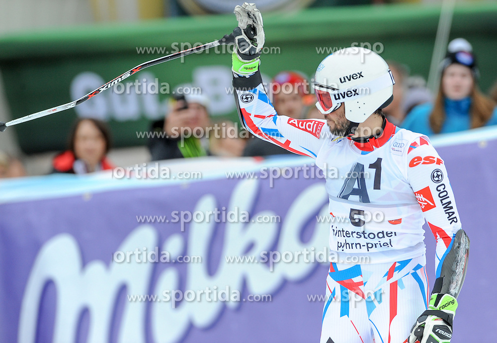 28.02.2016, Hannes Trinkl Rennstrecke, Hinterstoder, AUT, FIS Weltcup Ski Alpin, Hinterstoder, Riesenslalom, Herren, 2. Lauf, im Bild Thomas Fanara (FRA) // Thomas Fanara of France reacts after his 2nd run of men's Giant Slalom of Hinterstoder FIS Ski Alpine World Cup at the Hannes Trinkl Rennstrecke in Hinterstoder, Austria on 2016/02/28. EXPA Pictures © 2016, PhotoCredit: EXPA/ Erich Spiess