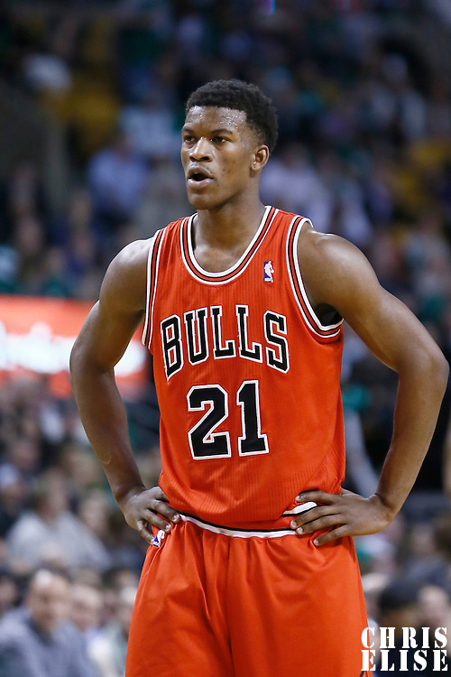 13 February 2013: Chicago Bulls small forward Jimmy Butler (21) rests during the Boston Celtics 71-69 victory over the Chicago Bulls at the TD Garden, Boston, Massachusetts, USA.