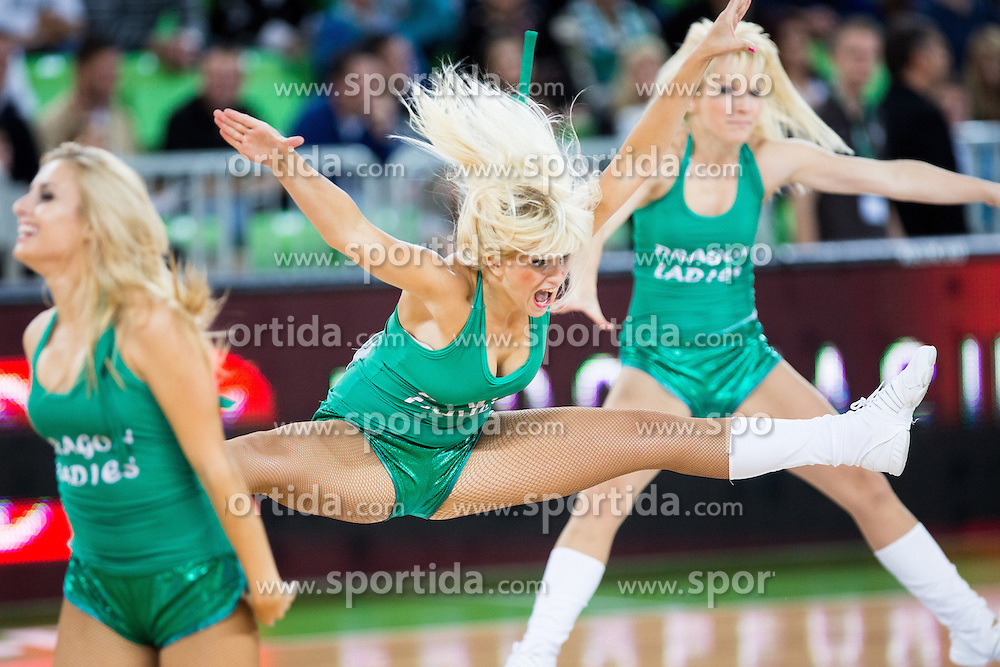 Cheerleaders Dragon Ladies during basketball match between KK Union Olimpija and Fenerbahce Ulker Istanbul (TUR)  in 2nd Round of Regular season of Euroleague 2012/13 on October 19, 2012 in Arena Stozice, Ljubljana, Slovenia. (Photo By Vid Ponikvar / Sportida)