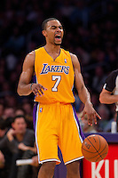 16 March 2012: Guard Ramon Sessions of the Los Angeles Lakers dribbles the ball and calls a play while playing against the Minnesota Timberwolves during the second half of the Lakers 97-92 victory over the Timberwolves at the STAPLES Center in Los Angeles, CA.