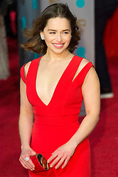 © Licensed to London News Pictures. 14/02/2016. London, UK. EMILIA CLARKE arrives on the red carpet at the EE British Academy Film Awards 2016 Photo credit: Ray Tang/LNP
