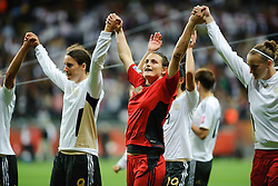 30.06.2011, Commerzbank-Arena, Frankfurt, GER, FIFA Women Worldcup 2011, GRUPPE A, Deutschland (GER) vs. Nigeria (NGR) , im Bild Nadine Angerer (Torwart Deutschland #1, Frankfurt) (m) feiert den Sieg nach dem Spiel // during the FIFA Women Worldcup 2011, Pool A, Germany vs. Nigeria on 2011/06/30, Commerzbank-Arena, Frankfurt, Germany. EXPA Pictures © 2011, PhotoCredit: EXPA/ nph/  Roth       ****** out of GER / CRO  / BEL ******