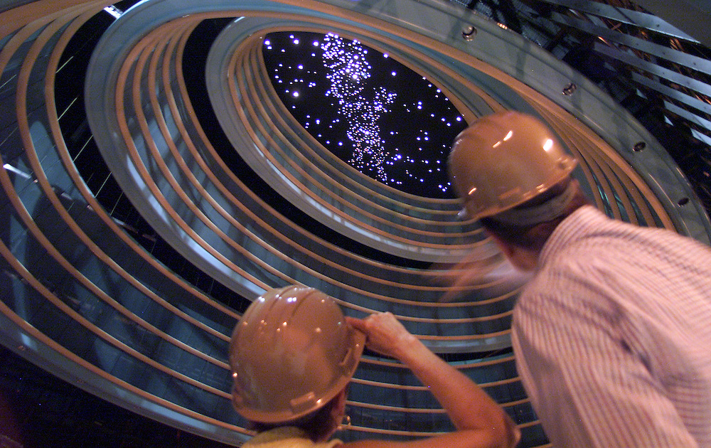 Susanne (left) and Paul Weaver, of Dayton, look at the dome ceiling in the Schuster Center. The star field's configuration is the same as it appeared on the eve of Wilbur and Orville Wright's first flight on December 16, 1903.