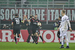 November 23, 2017 - Milan, Italy - Patrick Cutrone of AC Milan celebrate the first goal  of Ricardo Rodriguez for AC Milan during uefa Europa League AC Milan vs FK Austria Wien at San Siro Stadium (Credit Image: © Gaetano Piazzolla/Pacific Press via ZUMA Wire)