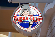 "Minnesota USA, Minneapolis, ""Mall of America"" pre Christmas shopping in the the largest indoor mall in the U.S. The ""Bubba Gump"" Shrimp company logo November 2006"