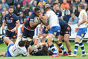 Viliame Mata on the ball during the Rugby Friendly match between Edinburgh Rugby and Bath Rugby at Meggetland Sports Compex, Edinburgh, Scotland on 17 August 2018.