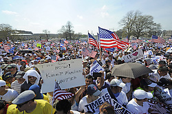 Immigration reform supporters demonstrate in the Rally for Citizenship on the West Lawn of Capitol Hill in Washington D.C., capital of the United States, April 10, 2013. Two senior U.S. Senators, Democratic Senator Charles Schumer and Republican Senator John McCain, who are working together to broker an immigration reform plan on Sunday, expressed optimism that a bill could be ready within this week, DC, USA, April 10, 2013. Photo by Imago / i-Images...UK ONLY.