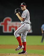 Aug. 10, 2012; Phoenix, AZ, USA; Washington Nationals pitcher Stephen Strasburg (37) pitches during the game against the Arizona Diamondbacks in the first inning at Chase Field.  Mandatory Credit: Jennifer Stewart-US PRESSWIRE