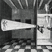 First illustration  of a Magic Lantern. From 'Ars magna', Amsterdam, 1671, by Athanasius Kircher.