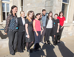 Jamie Dornan at the 18th after his match, with ladies from the R&A. Alfred Dunhill Links Championship this afternoon at St Andrews.