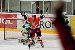 Branislav Bendik (HK Acroni Jesenice, #71) celebrates goal by Antti Pusa during ice-hockey match between HK Acroni Jesenice and HDD Tilia Olimpija in 34th Round of EBEL league, on December 26, 2011 at Dvorana Podmezaklja, Jesenice, Slovenia. (Photo By Matic Klansek Velej / Sportida)