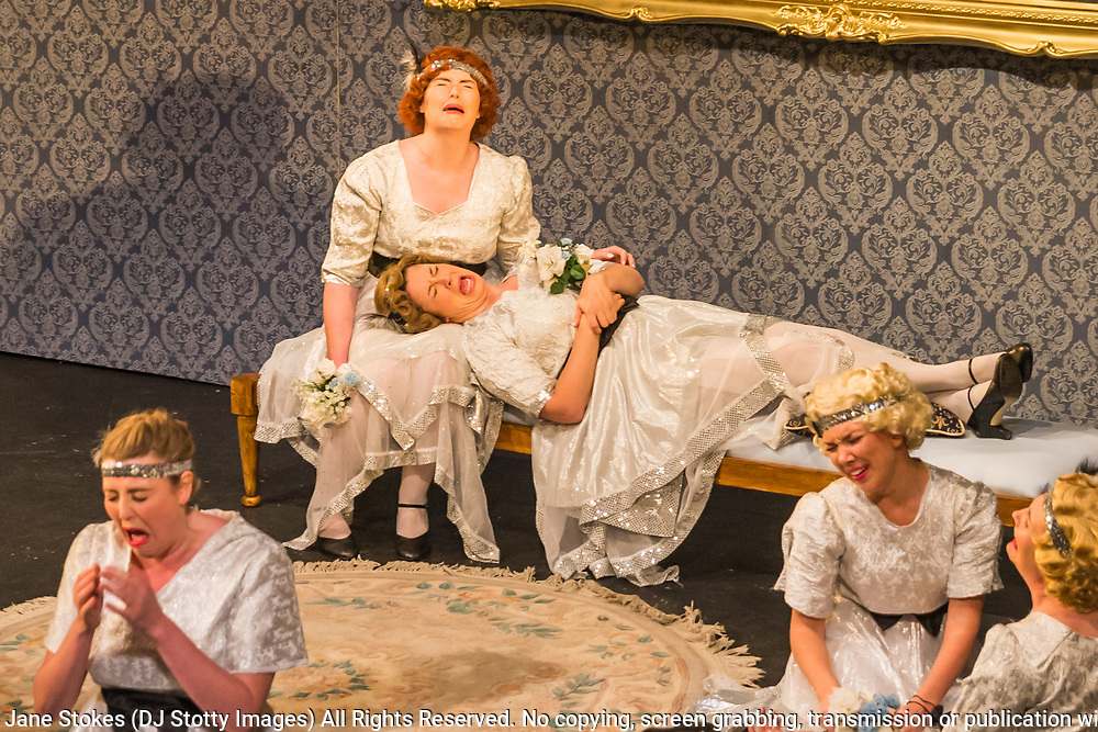 Matinee performance of Ruddigore performed by during the National Gilbert &amp; Sullivan Opera Company in Buxton Opera House Buxton, England on Wednesday 01 August 2018 Photo: Jane Stokes<br /> <br /> DIRECTOR/Vivian Coates<br /> CONDUCTOR/James Hendry<br /> CHOREOGRAPHER/Mary McDonagh<br /> <br /> CAST<br /> SIR RUTHVEN MURGATROYD (Robin Oakapple)/Bradley Travis<br /> RICHARD DAUNTLESS/David Menezes<br /> SIR DESPARD MURGATROYD/Matthew Siveter<br /> OLD ADAM GOODHEART/Stephen Godward<br /> ROSE MAYBUD/Rosanna Harris<br /> MAD MARGARET/Mae Hendorn<br /> DAME HANNAH/Gaynor Keeble<br /> ZORAH/Juliet Montgomery<br /> RUTH/Alexandra Hazard<br /> SIR RODERIC MURGATROYD/Steven Page<br /> <br /> THE CHORUS<br /> Hannah Boxall, Nicole Boardman, Rhiannon Doogan, Joanna Goldspink, Maisy Hepburn, Jennifer Parker, Julie Power, Stephanie Poropat, Eloise Waterhouse, Emma Watkinson<br /> <br /> Tom Blackwell, Andrew Brown, Peter Brooks, Stephen Fawell, Matthew Kellett, Michael Vincent Jones, Henry Smith, Jonathan Stevens, Tim Southgate<br /> <br /> PRODUCTION TEAM<br /> <br /> TOUR MANAGER/Neil Smith<br /> STAGE MANAGER/Sarah Kent<br /> ASSISTANT STAGE MANAGER/Claire Litton<br /> LIGHTING DESIGN/David Marsden<br /> WARDROBE SUPERVISOR/ David Morgan<br /> SET DESIGN/ Tin Shed Scenery<br /> REPETITEUR/Erica Gundesen