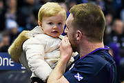Stuart Hogg and daughter after winning the 2018 Autumn Test match between Scotland and Fiji at Murrayfield, Edinburgh, Scotland on 10 November 2018.