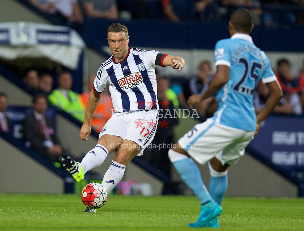 WEST BROMWICH, ENGLAND - Monday, August 10, 2015: West Bromwich Albion's Rickie Lambert in action against Manchester City during the Premier League match at the Hawthorns. (Pic by David Rawcliffe/Propaganda)