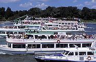 DEU, Germany, Cologne, Corpus Christi ship ..procession Muelheimer Gottestracht on the river Rhine.....DEU, Deutschland, Koeln, Fronleichnams-Schiffsprozession Muelheimer Gottestracht auf dem Rhein....... ..