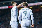 Leeds United forward Patrick Bamford (9) scores a goal and celebrates with Leeds United midfielder Kalvin Phillips (23) to make the score 1-0 during the EFL Sky Bet Championship match between Leeds United and Blackburn Rovers at Elland Road, Leeds, England on 9 November 2019.