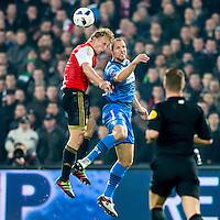 ROTTERDAM - 03-03-2016, Feyenoord - AZ, stadion de Kuip, Feyenoord speler Dirk Kuyt, AZ speler Ron Vlaar