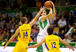 during basketball match between KK Zlatorog Lasko and Maccabi Electra Tel-Aviv in 2nd Round of ABA League, on October 3, 2011, in Arena Tri Lilije, Slovenia. Maccabi defeated Zlatorog 101-72. (Photo by Vid Ponikvar / Sportida)