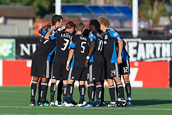 July 20, 2011; Santa Clara, CA, USA;  The San Jose Earthquakes huddle before the first half against the Vancouver Whitecaps at Buck Shaw Stadium. San Jose tied Vancouver 2-2.