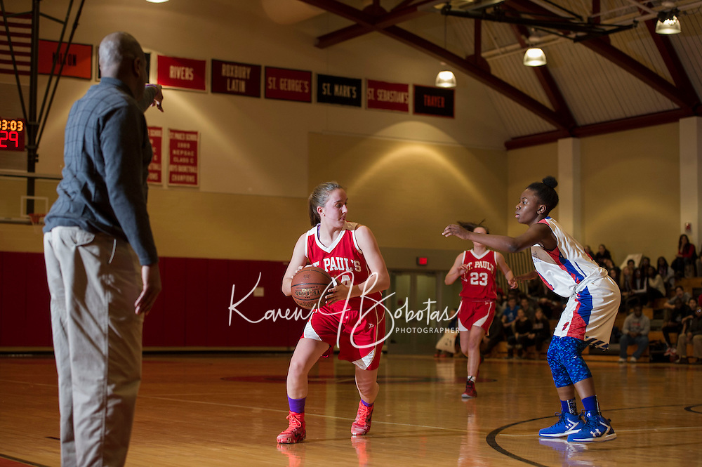 St Paul's School girls basketball with Holderness.  ©2016 Karen Bobotas Photographer