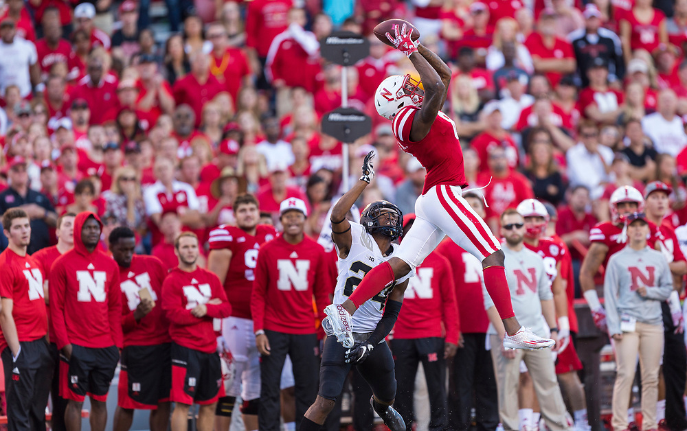 Stanley Morgan Jr. #8 of the Nebraska Cornhuskers goes up to make a catch during Nebraska's game vs. Purdue at Memorial Stadium in Lincoln, Neb. on Oct. 22, 2016. Photo by Aaron Babcock, Hail Varsity