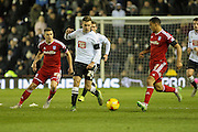 Derby County forward Andreas Weimann on the ball during the Sky Bet Championship match between Derby County and Cardiff City at the iPro Stadium, Derby, England on 21 November 2015. Photo by Aaron Lupton.