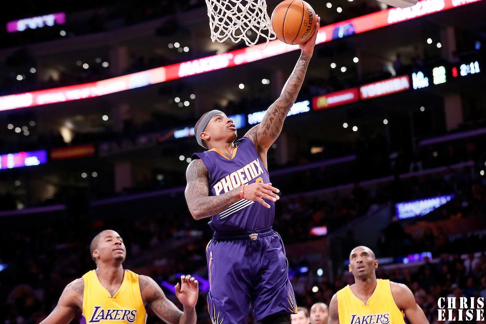 04 November 2014: Phoenix Suns guard Isaiah Thomas (3) goes for the layup during the Phoenix Suns 112-106 victory over the Los Angeles Lakers, at the Staples Center, Los Angeles, California, USA.