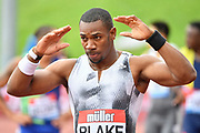 Yohan Blake (JAM)  celebrates after winning the men's 100m Final in a time of 10.07 during the Birmingham Grand Prix, Sunday, Aug 18, 2019, in Birmingham, United Kingdom. (Steve Flynn/Image of Sport via AP)