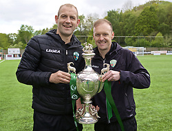 RHOSYMEDRE, WALES - Sunday, May 5, 2019: The New Saints manager Scott Ruscoe (R) and assistant Steve Evans (L) with the trophy after the FAW JD Welsh Cup Final between Connah's Quay Nomads and The New Saints at The Rock. The New Saints won 3-0. (Pic by David Rawcliffe/Propaganda)