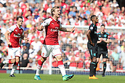 Arsenal defender Nacho Monreal (18) celebrates after scoring a goal to make it 1-0 during the Premier League match between Arsenal and West Ham United at the Emirates Stadium, London, England on 22 April 2018. Picture by Bennett Dean.