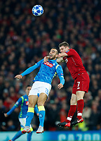 Football - 2018 / 2019 UEFA Champions League - Group C: Liverpool vs. Napoli<br /> <br /> James Milner of Liverpool and Nikola Maksimovic of SSC Napoli at Anfield.<br /> <br /> COLORSPORT/LYNNE CAMERON